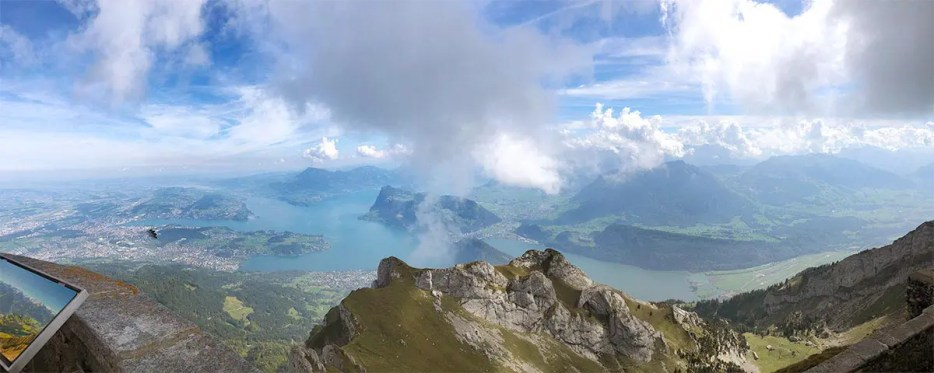 Panoramic view from Pilatus mountain on one of the most beautiful places in Switzerland: Lake Lucerne and the city of Lucerne.