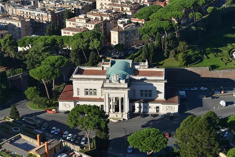 Train station of the Vatican seen from the sky