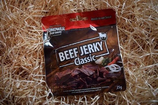Brandnooz Genussbox Oktober 2017 Conower Beef Jerky Classic Probenqueen