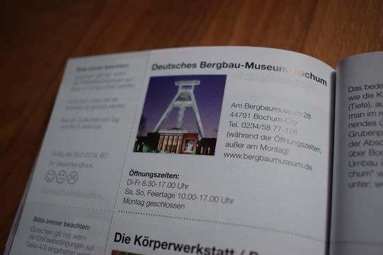 Gutscheinbuch Bochum & Umgebung Erklärung Deutsches Bergbaumuseum Probenqueen