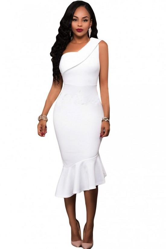 Elegante Abendkleider weißes Kleid Probenqueen