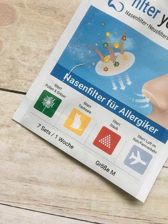 Filter your life Nasenfilter www.probequeen.de Ausschnitt Verpackung