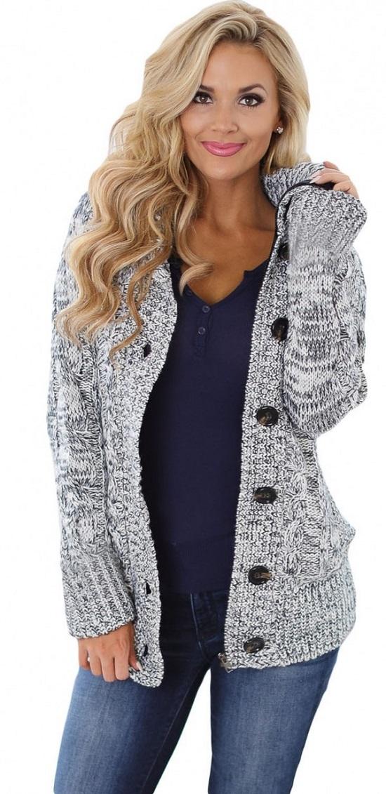schicke Jacken von Elegrina Strickjacke grau mit Knöpfen und Kapuze www.probenqueen.de