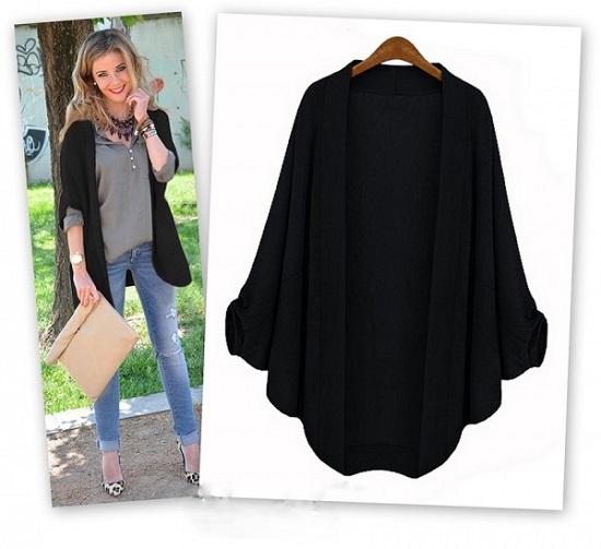 schicke Jacken von Elegrina Strickjacke in schwarz und offen mit dreiviertel Arm www.probenqueen.de