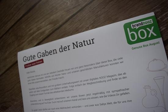 Brandnooz Genussbox August 2018 Flyer Gute Gaben der Natur www.probenqueen.de