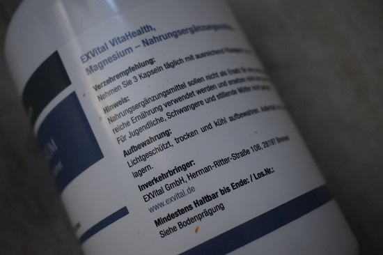 Magnesium von Exvital Etikett Dosenrückseite Nahaufnahme