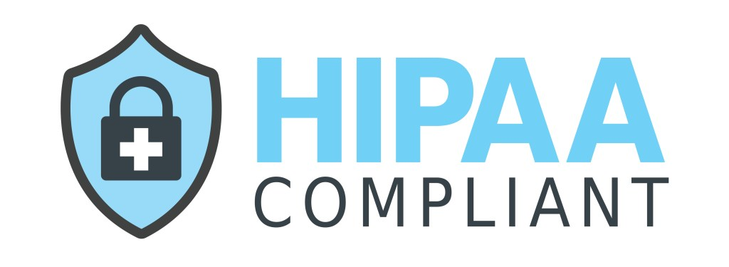 HIPAA Compliant logo in blue and gray.