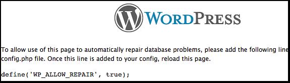 WordPress Database Repair