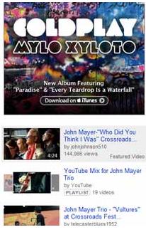 YouTube sidebar