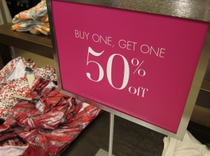 Sale sign in a shop