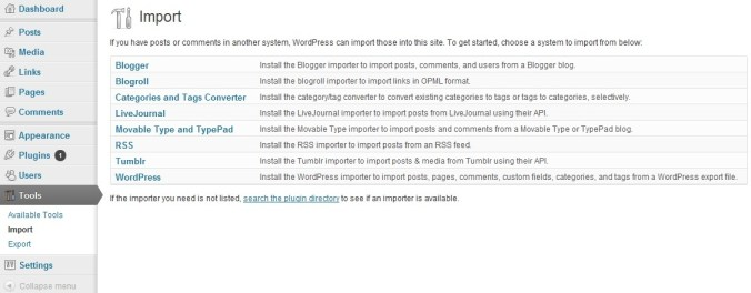 Importing your blog
