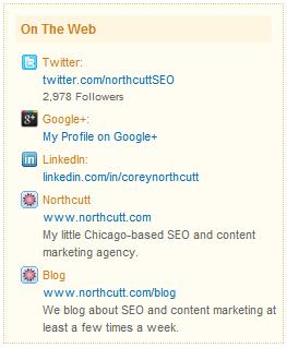 links on social profiles