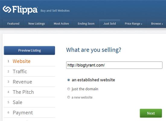 A Flippa listing