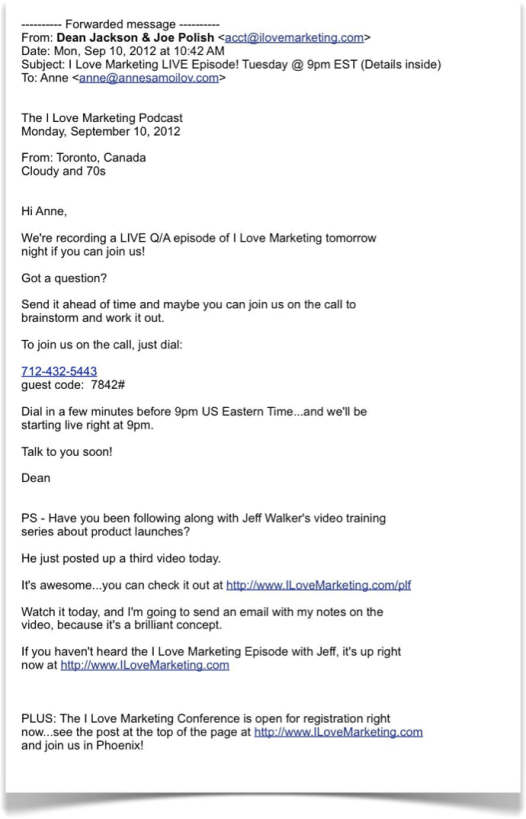 Email by Dean Jackson