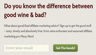 MissyWard newsletter sign up box