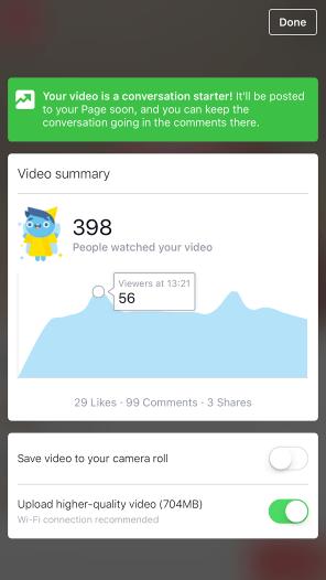 Facebook live video stats