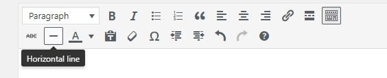 Horizontal line button in WordPress