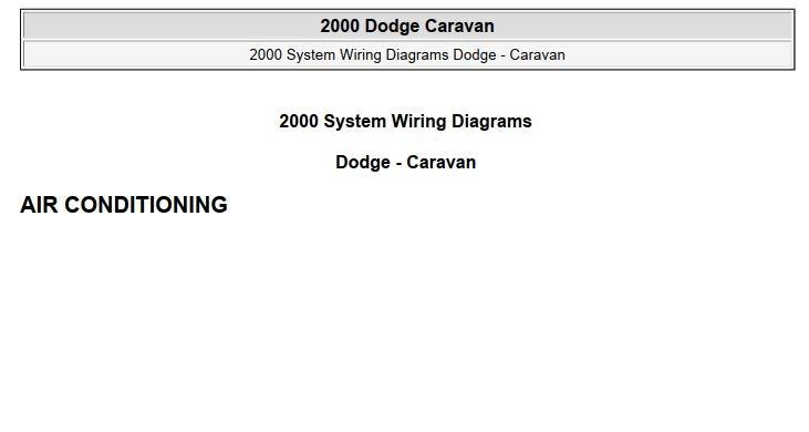 Dodge Caravan 2000 System Wiring Diagrams