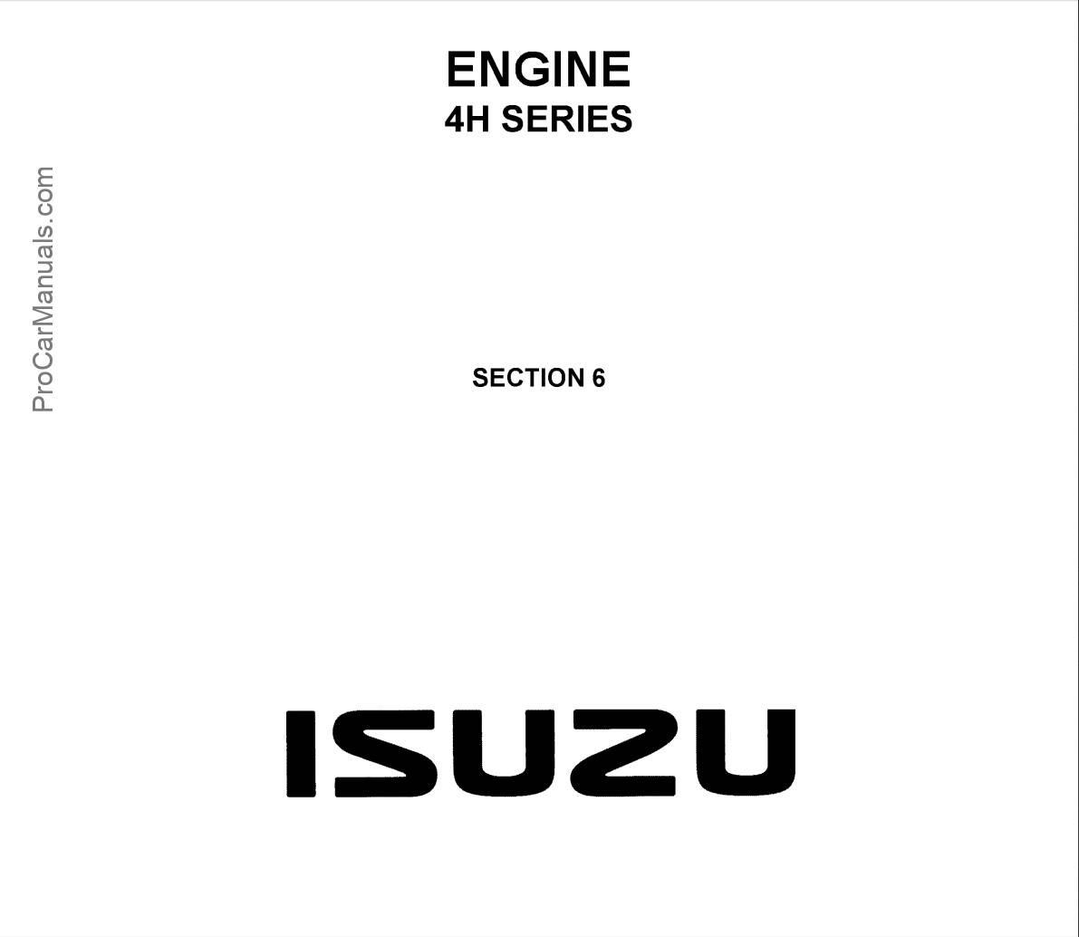 Isuzu Engine 4h Series Workshop Manual Lg4h We