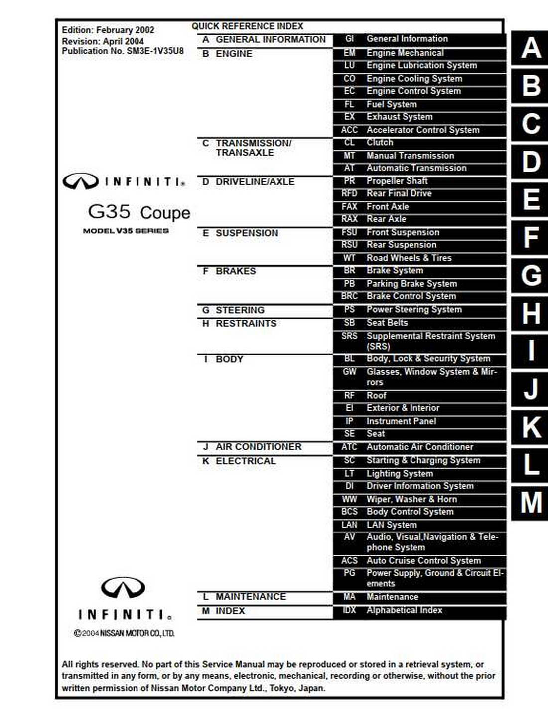 Infiniti G35 Coupe Model V35 Series Service Manual