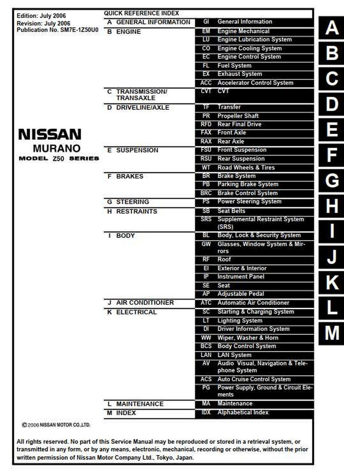 Nissan Murano Model Z50 Series Service Manual