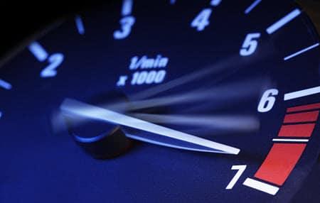 Tachometer Showing Maximum Speed