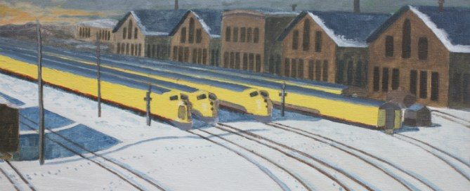 The Trainyard Painting by Peter Hinze
