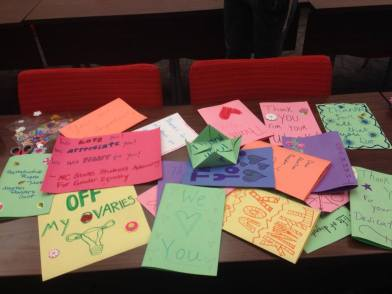 Thank you cards from NC State students to abortion providers