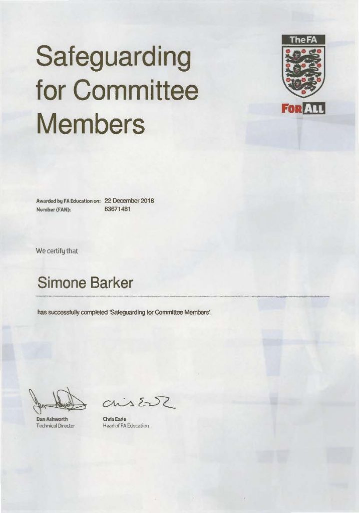 Simone Barker Football Certificates Pro Coaching Academy