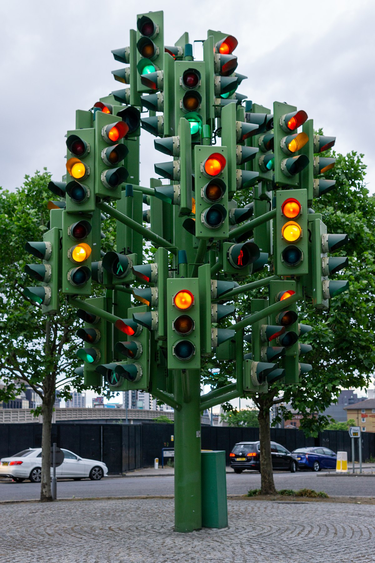 post with a multitude of traffic lights on it