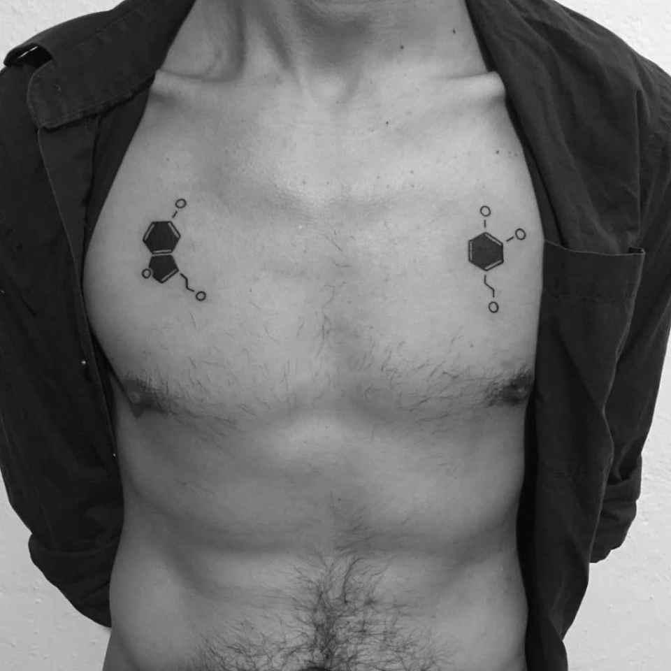 tatuaje de la molécula de dopamina