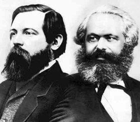comunistas Karl Marx y Friedrich Engels