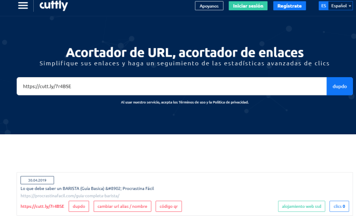 acortador de links cutt.ly