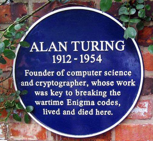 placa en conmemoración de Alan Turing