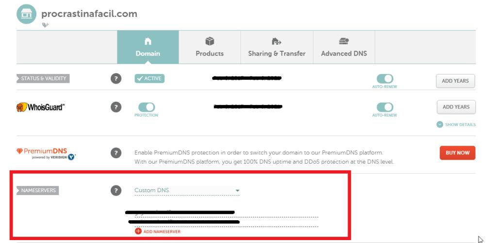 Asi agregas los nombre de servidor a tu proveedor de dominio