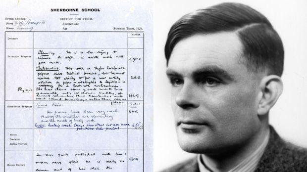 Boletín de calificaciones de Alan Turing en el Museo Fitzwilliam de Cambridge
