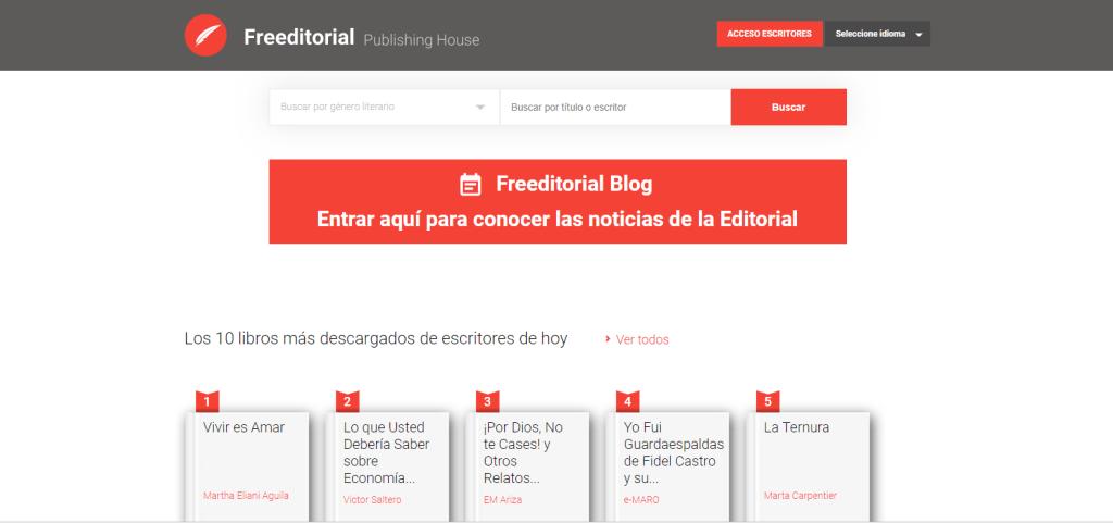 Sitio de Freeditorial, libros gratis y legales