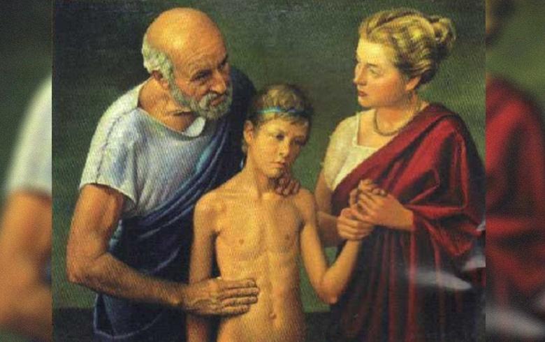 Cuadro de Hipocrátes atendiendo paciente joven