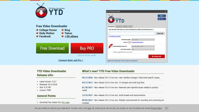 YTD Video Downloader un excelente programaa para convertir vídeos en Youtube
