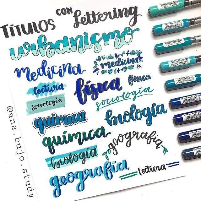 tituos con lettering para materias