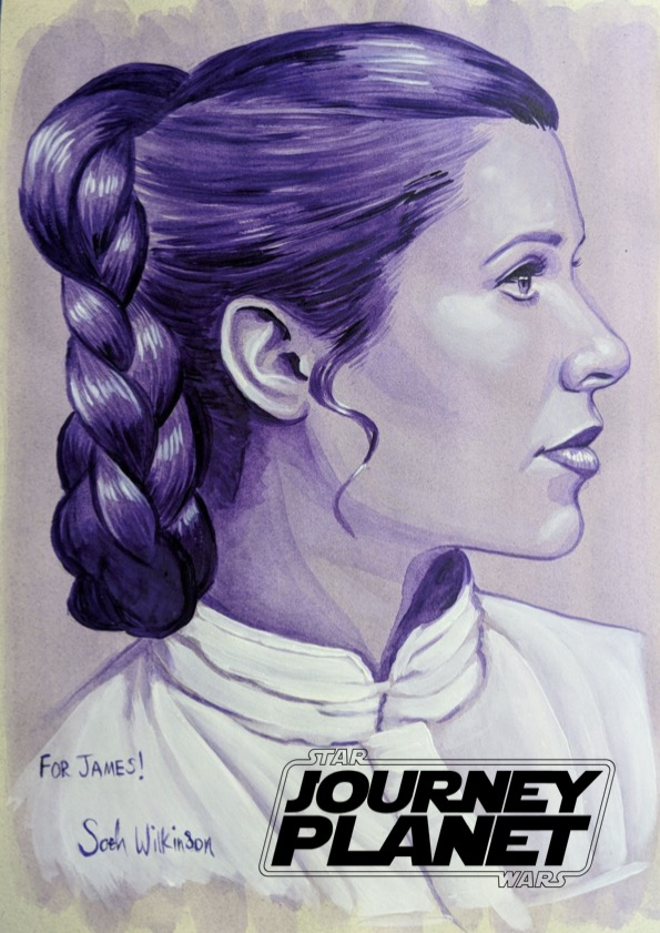A monochrome drawing in blues of Princess Leia