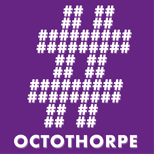 An octothorpe (hash or pound symbol) made out of white octothorpes as ASCII art, on a purple background, with the word Octothorpe written at the bottom.