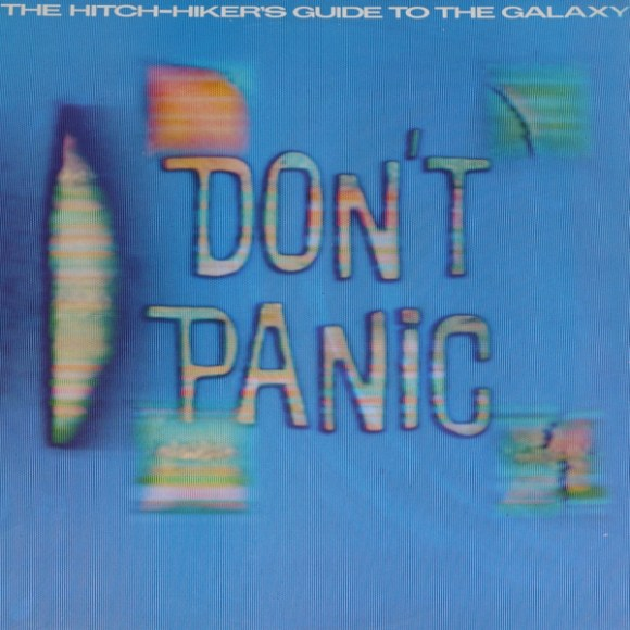 The cover art of the Original Records version of the Hitchhiker's Guide to the Galaxy