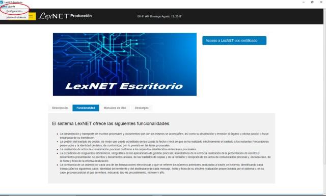 Configuración Lexnet