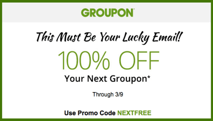 Groupon: Possible 100% Off Your Next Purchase!