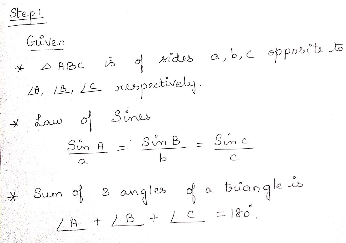 Answered Use The Law Of Sines To Solve For All