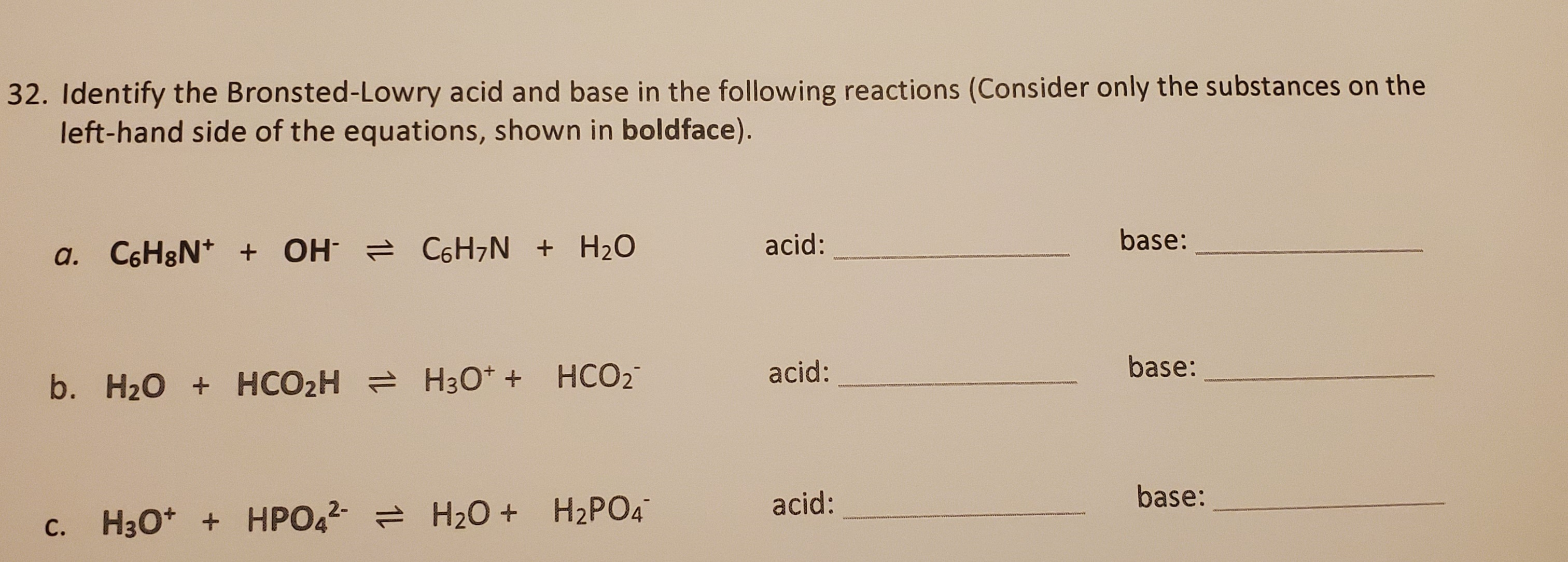 Answered Identify The Bronsted Lowry Acid And