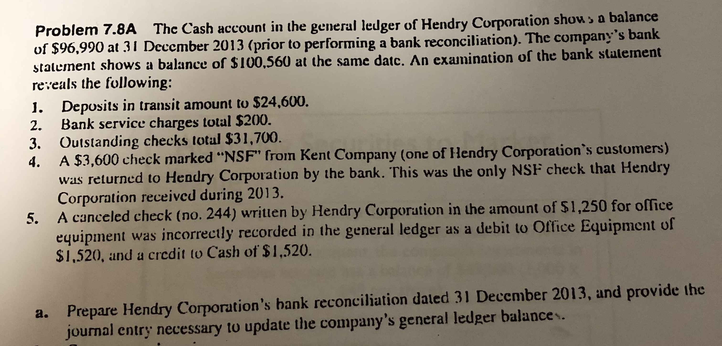 Answered Problem 7 8a The Cash Account In The