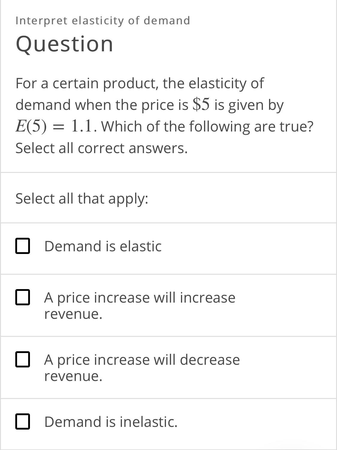 Answered Interpret Elasticity Of Demand Question