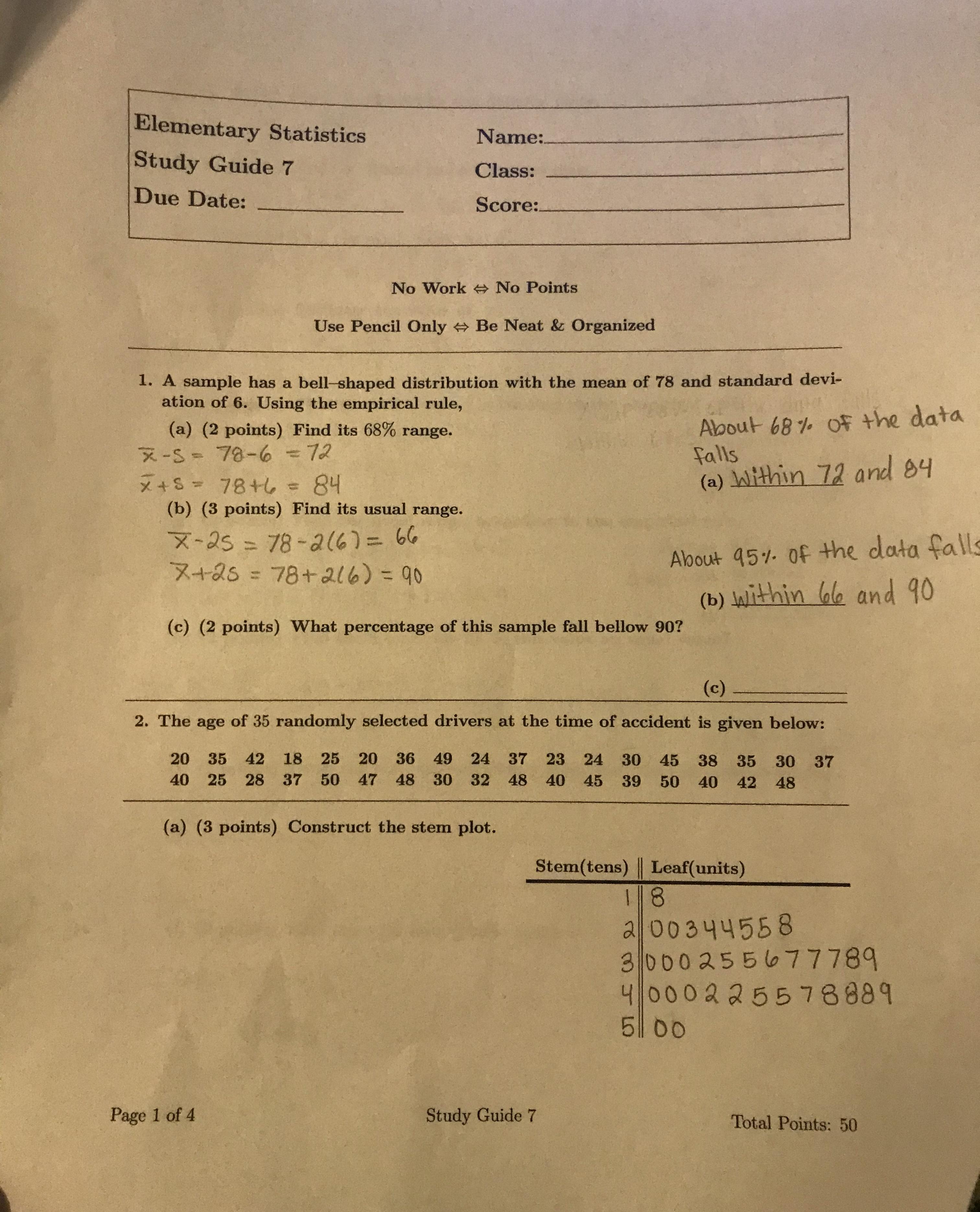 Answered Elementary Statistics Name Study